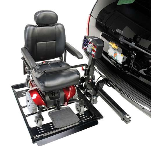 AL560 Automatic Universal Power Chair Lift carries for most power wheelchair models with easy hold-down arm.